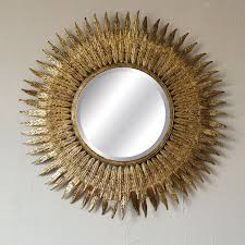 round metal gold sunburst mirror