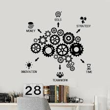 Teamwork Vinyl Wall Stickers Innovation Strategy Money Words Wall Decal Office Company Room Decoration Meeting Room Decor W188 Wall Stickers Aliexpress