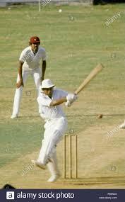 Sunil Gavaskar batting and Kapil Dev ...