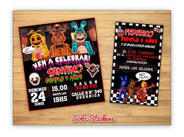 30 Tarjetas Invitaciones 10x9 Cm Five Nights At Freddy Fnaf