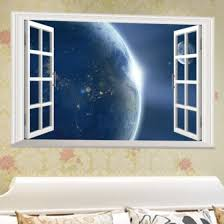 Shop 3d Window View Earth Space Universe Wall Sticker Pvc Art Decal Home Room Decor Online From Best Wall Stickers Murals On Jd Com Global Site Joybuy Com