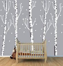 This Is Gorgeous I Loooove This Giant Gray Birch Tree Decal With 5 Trees Wall Art Idea For Your Baby Nurs Tree Decals Birch Tree Decal Birch Tree Wall Decal
