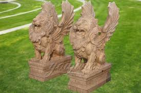 marble flying lion statues mawl