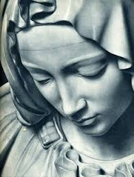 Face of Maria, detail of the Pietà by Michelangelo Buonarroti ...