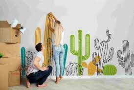 Cactus Wall Decals Nursery Wall Decals Large Wall Mural Etsy