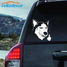 Amazon Com Felizdecor Vinyl Animals Car Sticker Husky Dog Decal Waterproof Removable Car Decor Laptop Decals 6 L450 Automotive