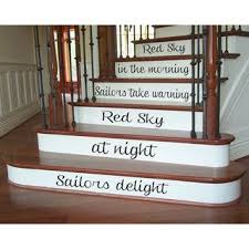 Shop Quote Red Sky In The Morning Staircase Decal Vinyl Sticker Interior Design Decor Sticker Decal Size 44x70 Color Black Overstock 14756064