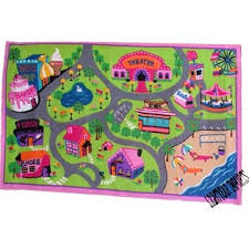 Pink Girls City Roads Car Track Rug Rugs Girls Playroom Pink Girl