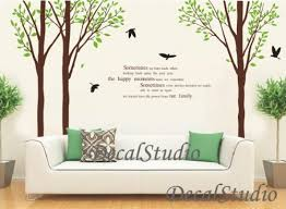 Large Birch Tree Set With Flying Birds Wall Decal Sticker Art Decalstudio On Artfire
