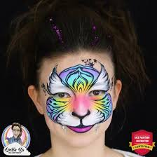 colorful tiger face paint tutorial
