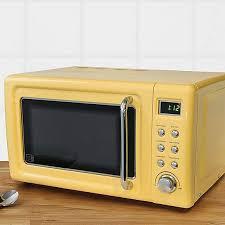 retro 20l 800w yellow digital microwave