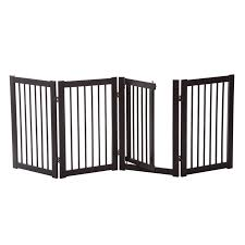 Free Standing Wooden Pet Gate Indoor Dog Barrier Foldable Step Over Doorway Fence Safety Gate With Open Door Z Shape 4 Panel Walmart Canada