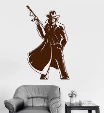 Vinyl Wall Decal Gangster Gun Mafia Man Coolest Art Kids Room Stickers Wallstickers4you