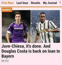 Gazzetta dello Sport one of many news organisations reporting that subject  to the player passing a medical, Chiesa to Juve is a done deal. : fiorentina