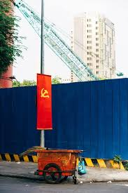 Communist Flag Container Blue Fence Trailers Construction Garbage Work Industry Road Business Pikist