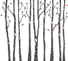 9 Birch Trees Wall Decal Forest Living Room 2 By Americandecals Birch Tree Decal Birch Tree Wall Decal Tree Silhouette
