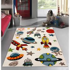 Kc Cubs Multi Color Kids And Children Bedroom And Playroom Aliens And Rocket In Outer Space 5 Ft X 7 Ft Area Rug Kcp010012 5x7 The Home Depot