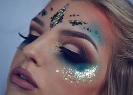 festival makeup game with glitter