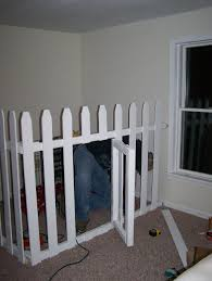 Dog Crate In The Corner Of Our Bedroom Picket Fencing With Swing Gate Used Dog Crate Dog Corner Dog Rooms