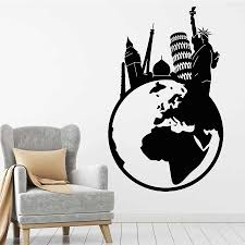 Globe Wall Decal Travel World Tower Statue Of Liberty Big Ben Vinyl Window Stickers Bedroom Living Room Home Decor Mural M049 Wall Stickers Aliexpress
