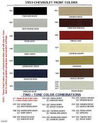 chevrolet paint codes 1946 1954