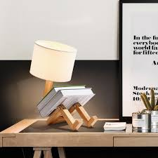 Wood Table Lamp With White Lamp Shade Robot Creatiy Lamp Luminaria Table Kids Room Bedroom Bed Side Reading Japanese Table Lamp Led Table Lamps Aliexpress