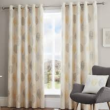 scandi leaf pair of eyelet curtains