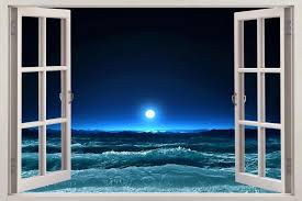 Moonlight Sea 3d Window View Decal Wall Sticker Art Mural Beach Waves Ocean Moon Beach Wall Murals Window View Fake Window