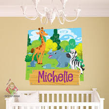 Safari Name Wall Decal Zoo Wall Decal Giraffe Wall Decal Etsy