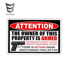 Earlfamily 13cm X 8 6cm For Owner Armed Warning Vinyl Decal Sticker 2nd Amendment Gun Firearm Pistol Permit Man Home Handgun Car Stickers Aliexpress