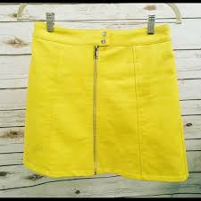 lemon yellow faux leather skirt
