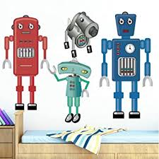 Amazon Com Decalmile Giant Robots Wall Decals Kids Room Wall Decor Peel And Stick Wall Stickers For Boys Room Baby Nursery Bedroom Playroom Baby