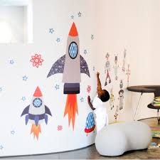 Starry Sky Space Rockets Wall Decal Wall Decals Ababy Com