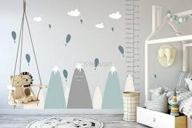 Nursery Soft Blue Gray Mountain Landscape And Little Hot Air Balloons Wall Decal Sticker Wall Decals Wallmur