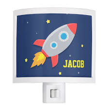 Rocket Ship Outer Space For Kids Room Night Light Zazzle Com
