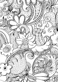 Flowers Abstract Doodle Zentangle Paisley Coloring Pages Colouring