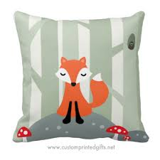 Cute Fox Sitting On A Rock In The Woods Pillow For Kids Custom Printed Gifts