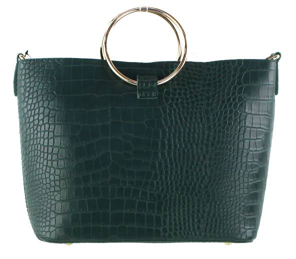 Image result for A faux croc ring-handle bag