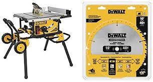 Dewalt Dwe7491rs 10 Inch Table Saw With 32 1 2 Inch Rip Capacity Dewalt Dw3114 10 Inch 40 Tooth Atb Thin Kerf Saw Blade Amazon Com