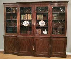 antique mahogany breakfront bookcase