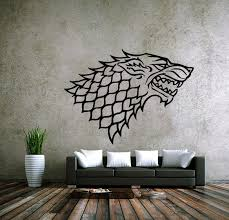 House Stark Of Winterfell Badge Direwolf Wall Stickers Home Decor For Bedroom Pvc Mural Game Of Thrones Vinyl Decal Wall Sticker The Got Store