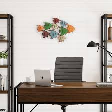 Shop School Of Fish Wall Art Nautical 3d Metal Hanging Decor Vintage Coastal Seaside Inspired Style By Lavish Home On Sale Overstock 25746392