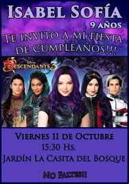 Tarjeta Invitacion Digital Descendientes 3 Cumpleanos 150 00