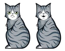 Kitty Cat Grumpy And Happy Moving Tail Car Decal Stickers
