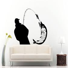 Fisherman Catching A Huge Fish Silhouette Wall Decals Murals Home Livingroom Art Fashion Decor Wall Poster Fishing Decal Wall Decals Fishing Decalswall Poster Aliexpress