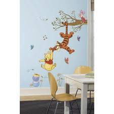 Roommates 18 In X 40 In Winnie The Pooh Pooh And Piglet 16 Piece Peel And Stick Giant Wall Decal Us Mexico Russia Rmk1499gm The Home Depot