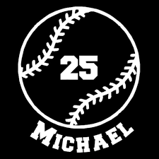 Custom Vinyl Baseball With Name And Number Car Window Decal Sticker Baseball Sticker Baseball Car Decals Baseball Decals
