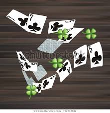 Playing Cards Fourleaf Clover On Wooden Stock Vector Royalty Free 722072089