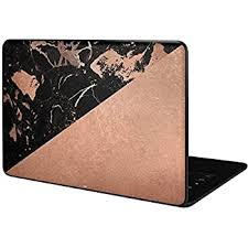 Amazon Com Skinit Decal Laptop Skin Compatible With Google Pixelbook Go Officially Licensed Originally Designed Black And Rose Gold Marble Split Design Electronics