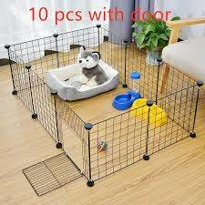 10 Panels Foldable Pet Playpen Crate Iron Fence With Door Gate House Exercise Training Kennel For Rabbit Dog Kitten Lazada Ph